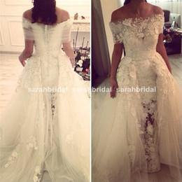 Wholesale Transparent Beach Wrap - 2015 Two Pieces Zuhair Murad Wedding Dresses with Detachable Lace Tulle Bolero Beaded Lace Appliques Transparent Mermaid Bridal Gowns Dubai