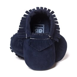 Wholesale baby boys first walking shoes - 120pairs lot Navy Blue Baby Boy First Walkers PU Toddler Shoes Fringe Soft Comfortable Newborn Training Walking Shoe Hot Sale