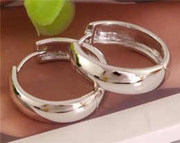 Wholesale Womens Sterling Silver Earrings - Free Shipping 1pair 925 sterling silver womens Classic Smooth hoop earrings