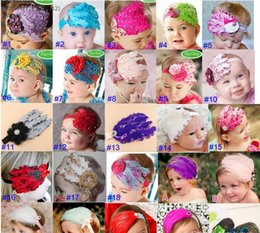 Wholesale Newborn Baby Girl Head Bands - Colorful Baby Newborn Toddler Girls Feather Headband Head Wear Hair band Photography Prop