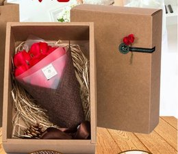 Wholesale Birthday Flower Bouquets - Christmas gifts soap rose flower gift box birthday gift girl creative handmade 7 flower soap bouquet