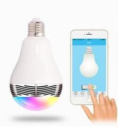 Wholesale Led Center - MOQ1PCS Creative APP Control Speaker Wireless Control Speaker LED RGB Colored Bulb Light Lamps E27 D5528B Bluetooth Mini Speaker