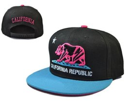 Wholesale Cap Republic - Free shipping California Republic Snapback hats New arrival hot sale High Quality baseball caps Black Bear Casual cap hat With Box 10 Colors