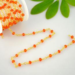 24k vergoldete perlen online-DIY 4MM Orange Farbe Kristall Perlen Draht gewickelt Perlen 24k Gold Plated Rosenkranz Ketten Making16.4Feet
