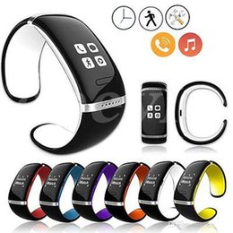 Wholesale Bracelet Bluetooth Sms - Sale L12S OLED Touch Screen Bluetooth Bracelet Wrist Watch Smart Watch for IOS iPhone Samsung and Android Phone Call Answer SMS Reminding