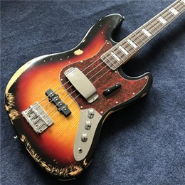 Wholesale Body Jazz Bass - Hot sell relic Jazz bass basswood body with 4 strings electric bass in sunburst color ,handed old, hight quality