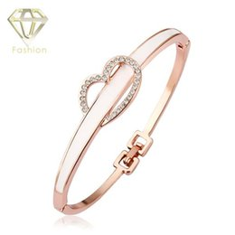 Wholesale Traditional Jewellery China - Jewellery Designs High Quality Rose Gold Plated Romantic Heart Love Bangle with AAA+ CZ Diamond Bridal Bracelet for Couples