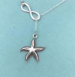 Wholesale Lariat Necklaces - Vintage Silver lariat Infinity Starfish Scissors Mirror Sea Horse Fleur De Lis Sewing Machine Necklace Pendant Women Jewelry Gift