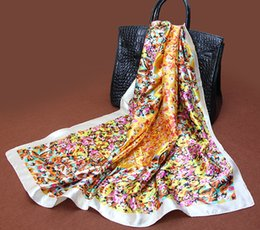 Wholesale Silk Square Scarves Heart - square scarf 90cm*90cm imitation Silk fabric pastoral style heart-shaped flower casual scarfs for women wholesale free shipping
