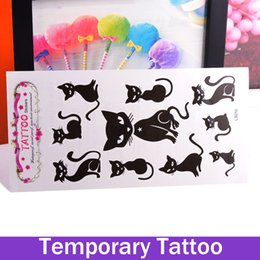 Wholesale Pussy Body - 1Pc Fashion Removable Waterproof Fake Temporary Tattoos Paper Body Art Stickers Sexy Pussy Cat Stickers