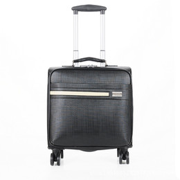 Wholesale Travel Trolley Wheels Luggage Bag - High quality PU Business luggage Box women travel bags men trolley bag Boy Vintage computer suitcases Spinner wheels bolsos
