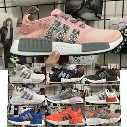 Wholesale Rubber Diamonds - 2018 NMD R1 Sequins Diamonds ultra boost Sneaker Women's Running Shoes fashion Sport