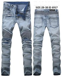 Wholesale Jeans Water - New Arrive Skinny water wash Motorcycle mens jeans desinger BL6917 in single cow thickened Slim paris top quality plugs men's jeans