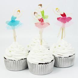 Cute Ballet Girl Cupcake Wrappers Decorar Inserta la tarjeta se coloca 24 unids / bolsas para cumpleaños y decoración de Navidad suministros desde fabricantes