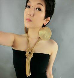Wholesale Multi Chain Tassels - Fashion Women Chunky Golden Multi Chain Twist Knot Mesh Snake Chain Tassel Choker Statement Necklace Jewelry