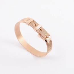 Wholesale Gold Mesh Buckle Bracelet - 316L Stainless Metal mesh wire bracelet silver rose gold adjustable belt buckle watch band mesh cable bracelet jewelry Gift