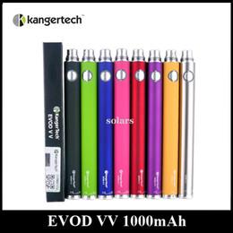 Wholesale Evod Vv - Original 1000mAh Kanger EVOD VV Battery Variable Voltage 3.3-4.8V 8 Colors Authentic Kangertech EGO Twist Battery DHL 30pcs