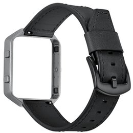 Wholesale Camera Frame Rate - [With Frame] Pull-up Genuine Leather Replacement Watch Band Strap Bracelet for Fitbit Blaze Fitness Smart Watch Black