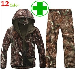 Wholesale Hunting Jacket Orange - Camouflage hunting suits Shark skin soft shell lurkers tad v 4.0 outdoor tactical military fleece jacket+soft shell Fleece pants sets