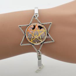 Wholesale Black White Cabochon - Black Cat bird white rabbit orange Pentagram bangle,glass cabochon dome animal photo bracelet, Zinc alloy jewelry G084