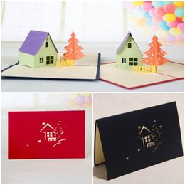 Wholesale happy christmas cards - 50PCS Hourse & Tree 3D laser cut pop up paper handmade postcards custom Christmas happy birthday greeting cards gifts for kids