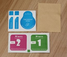 Wholesale Cleaner For Cell Phone - Wholesale-600set For Cell Phone Toughened Glass Membrane Film Sticking Dust Remove Guide Sticker,Alcohol Prep Pad,Cleaning Cloth 3pcs set