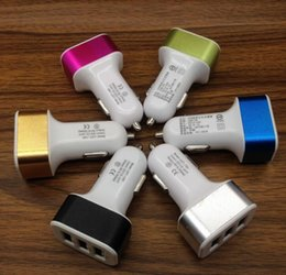 Wholesale Triple Socket Adapter - Universal Triple USB Car Charger Adapter USB Socket 3 Port Car-charger For iPhone Samsung Ipad Free DHL