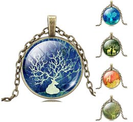 Wholesale Picture Heart Pendant - silver antique bronze chock necklace christmas gift art picture deer glass cabochon necklace pendant necklace DH