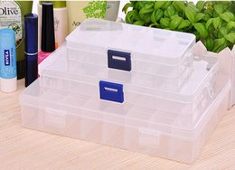 Wholesale Bead Storage Box 24 - Plastic 10 15 24 Slots Jewelry Adjustable Tool Box Case Craft Organizer Storage Beads Jewelry storage box holder