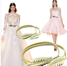 Wholesale Wedding Dresses 26 - Cheap Adjustable Zuhair Murad Matching Gold Silver leaves Belts Cheap High Quality For Wedding dresses Belt Bridal Sashes