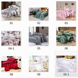 Wholesale King Size Satin Comforters - 8pcs Silk satin comforter bedding sets California king quilt duvet cover bedsheet fitted sheets bed in a bag queen size bedspreads linen