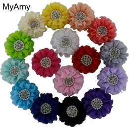 Wholesale Sewing Center - Myamy 64pcs  Lot Girls Beaded Chiffon Flowers Sew with Pearl Rhinestone Center Fashion Headbands Flower Solid Headwear Free Shipping