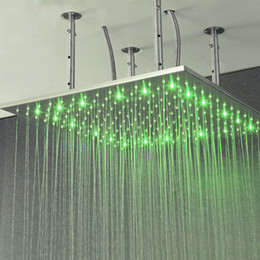 Wholesale 24 Inch Shower Head Led - Rainfall Shower Head Ceiling Mounted Top Over-head Shower Heads LED Light Shower 24 Inch Bathroom Showers Brushed Finished