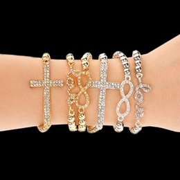 Wholesale Stretch Bead Gold Cross Bracelet - Wholesale-LOVE bracelets Pulseira Femininas Trendy Gold and Silver Color Cross World Love Infinity Charm Stretch Bead Bracelet For Women
