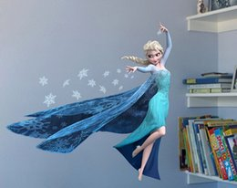 Wholesale Elsa Poster - 3D Elsa Frozen Wall Stickers  Decals Princess Room Home Decor Adesivo Posters Funny Wallpaper 50pcs Lot DHL Free Shipping
