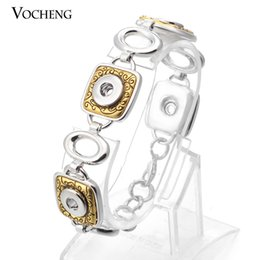Wholesale Silver Charm Bracelets Luxury - VOCHENG NOOSA Luxury Vintage Gold and Silver Plated Bracelet Interchangeable Metal Snap Button Jewelry (Vb-081)