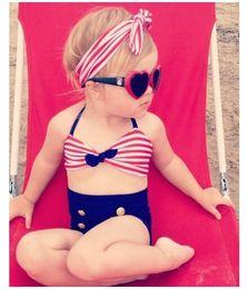 Wholesale String Bikini Girls - Cute baby little girls rain bow Fringe string Bikini swimsuit bathing suit for kid high waist toddler Swimwear Biquini infantils