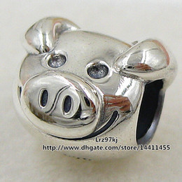 Wholesale 925 Silver Pig - 2015 New 925 Sterling Silver Playful Pig Charm Pendant Bead Fits European Pandora Jewelry Bracelets & Necklace