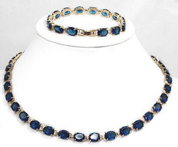 Wholesale Cheap Tanzanite - Wholesale cheap Fashion Jewelry Genuine Dark blue Tourmaline Tanzanite 18K GP Necklace bracelet