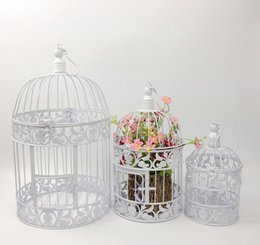 Wholesale Wedding Decorations Vintage - European White and Black Vintage Birds Cage Fashion Cinnamon iron birdcage wedding decoration props decoration decorative bird cage