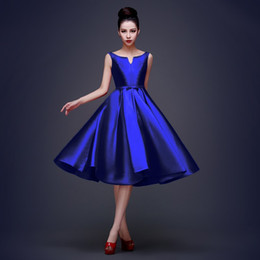 Wholesale Cocktail Dress High - New High Quality Simple Royal Blue Cocktail Dresses Lace up Tea Length Formal Party Dresses Plus Size