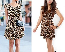 Wholesale Sexy Girls Mini Clothes - Fashion women girl leopard grain printed dress lady sexy night out club mini dresses A-line street style summer clothing gift drop shipping