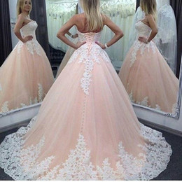Wholesale Simple Floral Prom Dresses - Ball Gown Wedding Dresses 2016 Custom Made Appliques Sweetheart Elegant Evening For Women Dresses Formal Prom Party Dresses