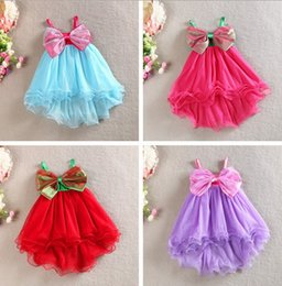 Wholesale Baby Girls Brace Skirt Bow - 2015 Summer Girls Bow Slip Dress Baby braces skirt Girls fish tail skirt Girls tutu Ruffle Princess dresses girls blue Mermaid dresses 3-8T