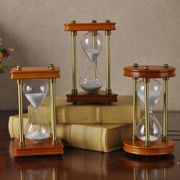 Wholesale Wood Glass Cabinet - Creative Time hourglass wood ornaments home accessories home office desktop TV Cabinet 15 minutes