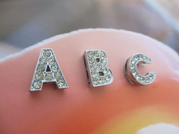 Wholesale Wholesale Small Metal Letter - 8mm rhinestone slide letter A-Z English alphabet diy charms fit 8mm Bracelets women Pet collars wholesale