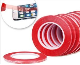 Wholesale 3m Roll - 1.5 2 3 5 6 8 10 12mm 25m length  roll Red PET film double adhesive tape 3m sitcker for mobile lcd refurbish touch screen glass replacement