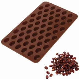 Wholesale Mini Chocolate Cakes - New Arrival High Quality Silicone 55 Cavity Mini Coffee Beans Chocolate Sugar Candy Mold Mould Cake Decor