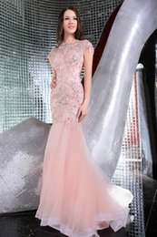 Wholesale Rhinestone Pick Up - Mermaid Evening Dresses 2016 With Capped Sleeve Long Formal Party Gowns W4373 Rhinestones High Quality Stunning Crystal Custom Made Fashion