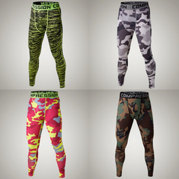 Wholesale Male Leggings - Wholesale-Camo Mens compression pants sports running tights basketball gym pants bodybuilding male jogger jogging trousers skinny leggings
